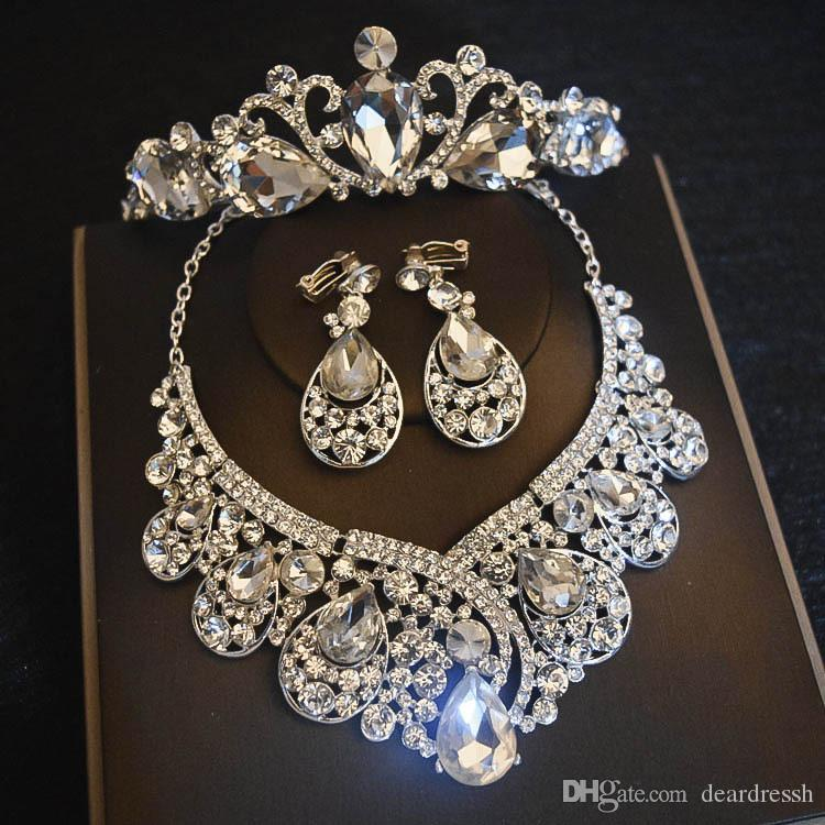2019 Sparkling Bling Bling Crystal Beaded Bridal Crown Necklace Earring Sets Jewelry Formal Events Crowns Hair Accessories Set