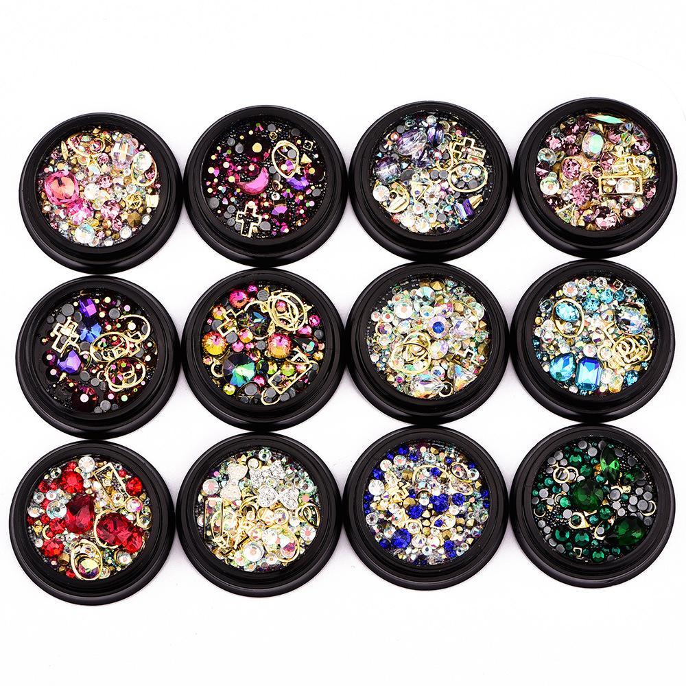 Nail ornamenti 4cm Black Box illusione di colore a punta trapano fondo + piatto Drill inferiore + fata perline + anello della pietra preziosa mix 12 opzioni RRA2890