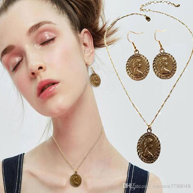 Choker Necklaces Earrings Summer Fashion Style Collar Pendant Multi Layer Statement Necklace Gold Chunky Chain Women jewelry