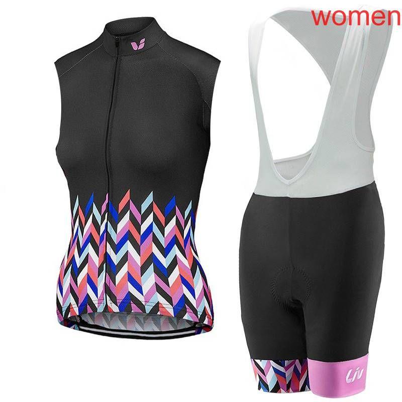 Hot Sale New LIV woman cycling Jersey Set bicycle sleeveless shirt bib shorts set quick dry bike clothing racing sportswear