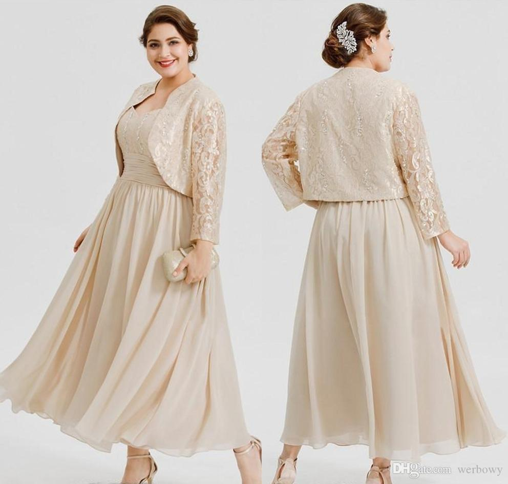 Plus Size Ankle Length Chiffon Mother of the Bride Dresses With Long Sleeves Lace Jackets Wedding Guest Dress
