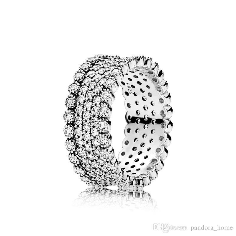 판도라 숙녀를위한 CZ 다이아몬드 우아한 원래 박스 세트와 조명 링 명품 925 스털링 실버 세트 눈부신 것은 크리스마스 선물 반지