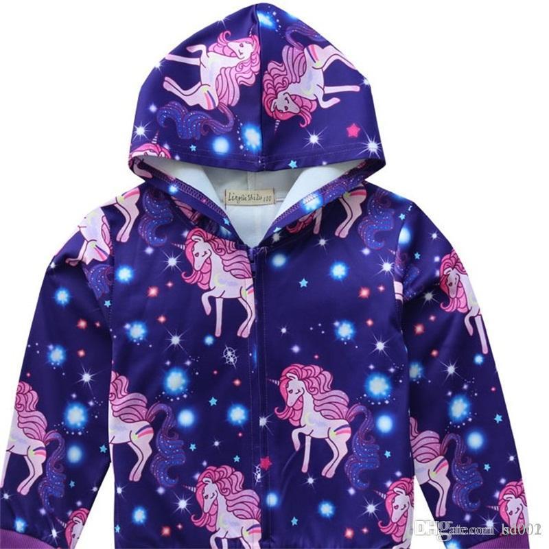 Schöne Einhorn Sweatshirts mit Kapuze langen Ärmel Rundhalsausschnitt Lila Farbe Reißverschluss-Mantel-Baby-Spring Home Kleidung 24 5bk E1
