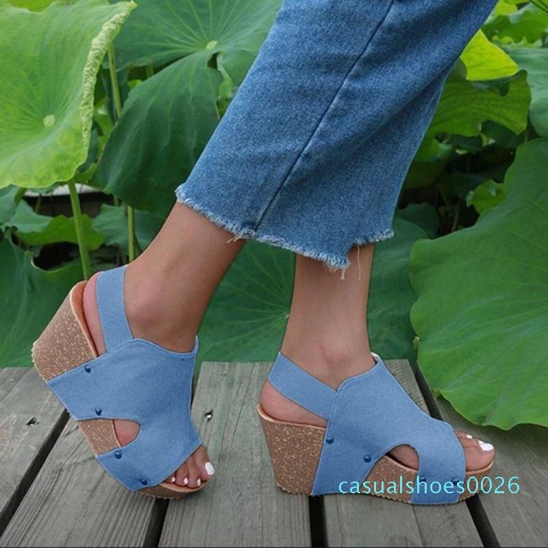Женские сандалии 2020 сандалии на платформе Женские туфли на танкетке летние толстые нижние римские туфли с открытым носком Sandalia Feminina c26
