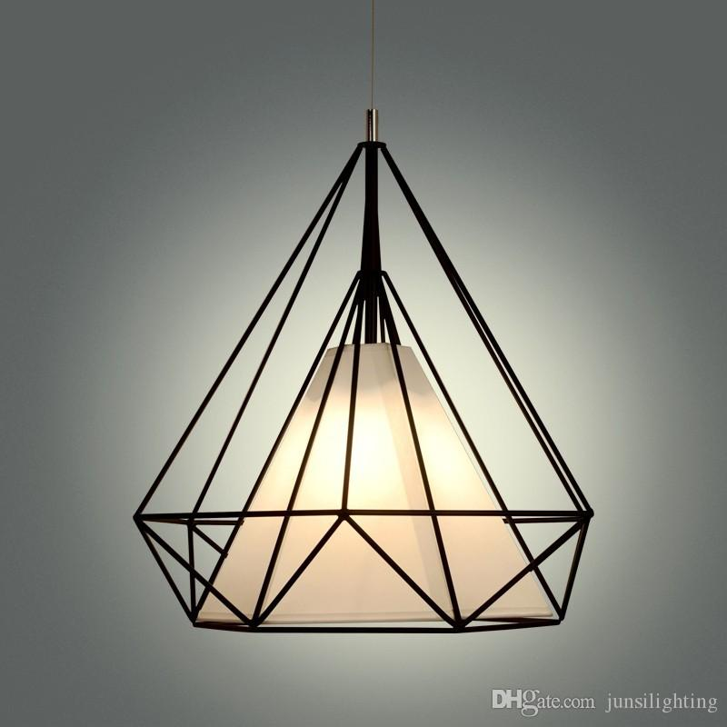 birdcage chandeliers Scandinavian modern minimalist art pyramid iron chandelier creative restaurant lights black white cord pendant