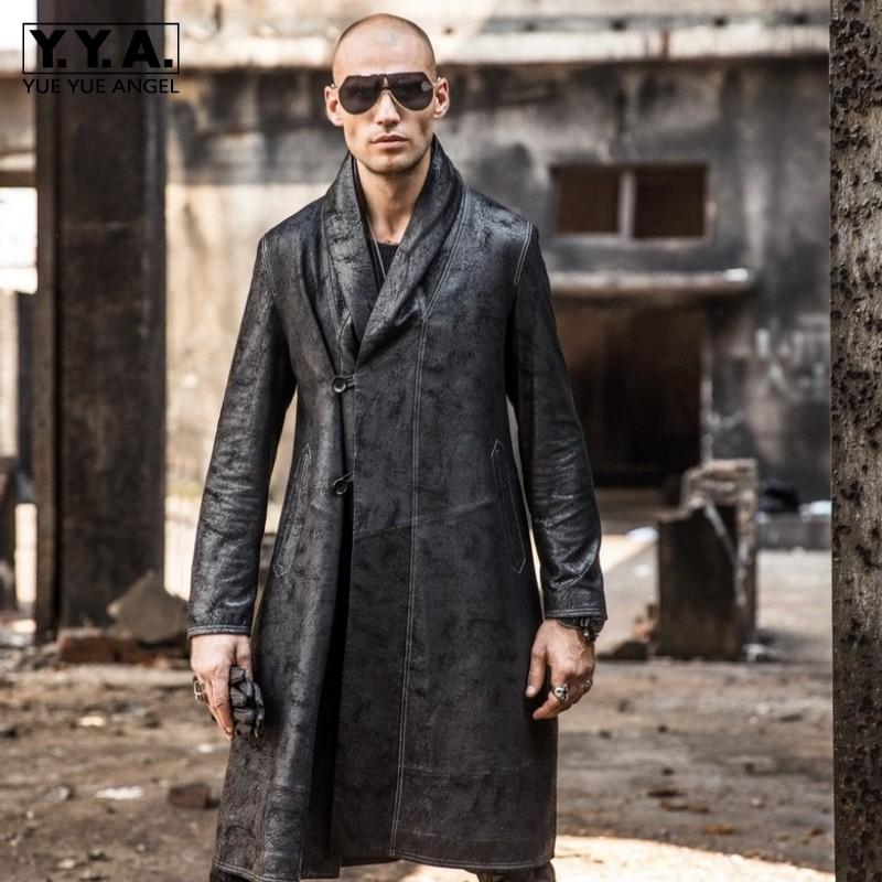 2019 Winter New Men Long Sheepksin Genuine Leather Jacket Loose Fit Trench Coat Gothic Man Midi Real Leather Overcoat