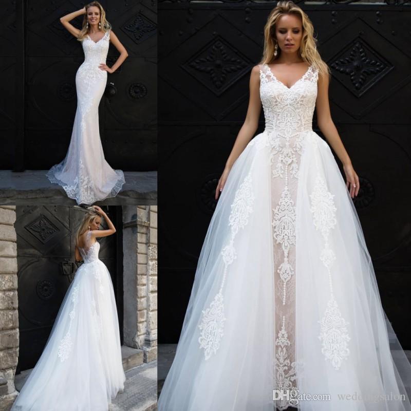 Amazing Mermaid Lace Wedding Dresses With Detachable Train V Neck Appliqued Bridal Gowns Trumpet Sweep Train Tulle Vestidos De Novia