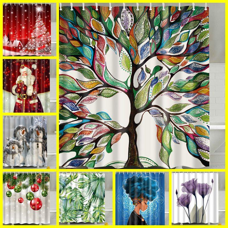 큰 나무 디자인 만화 샤워 커튼 멀티 스타일 BH1726 TQQ 커튼 180 * 180cm 샤워 커튼 디지털 인쇄 욕실 폴리 에스테르 샤워