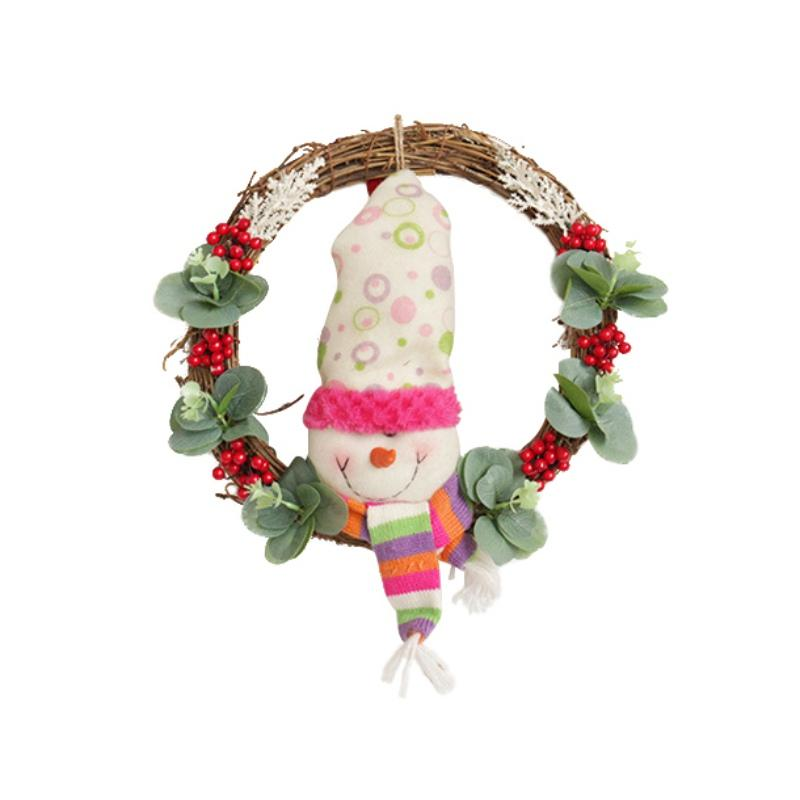 Christmas Home Decor Wall Decoration Ornament Simulation Fake Flower Hanging Wreath Door Hanging Artificial Plant Pendant