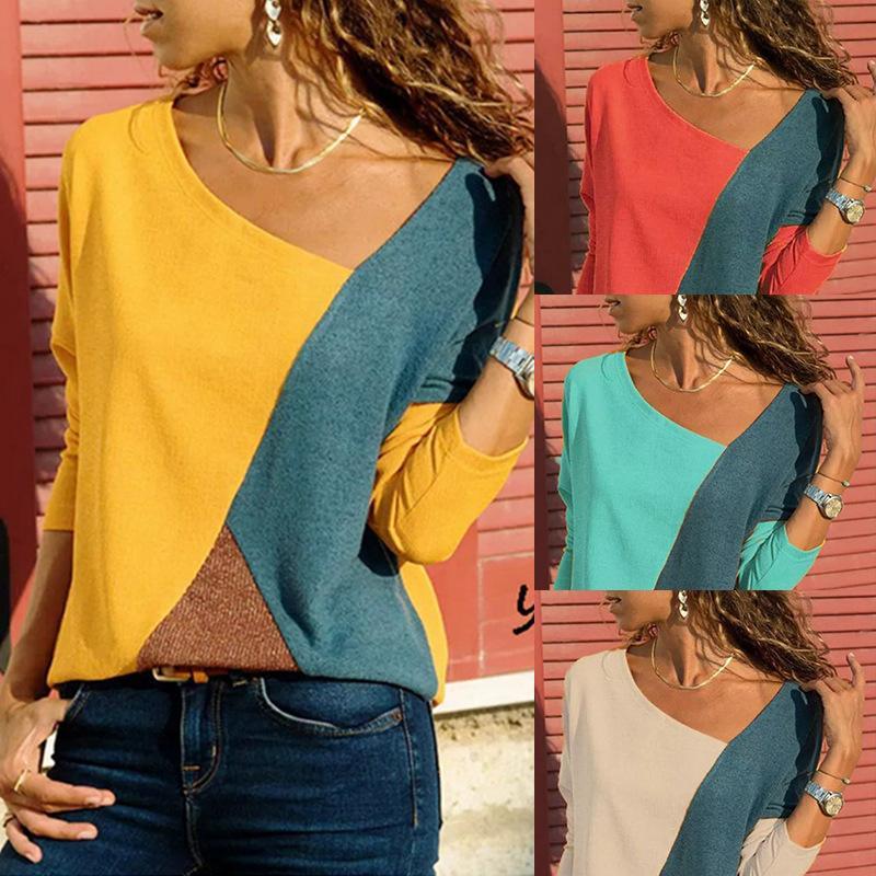 2300 # 15 색 S-8XL 여성 긴 소매 플러스 느슨한 블라우스 티셔츠 풀오버 점퍼 캐주얼 탑스 셔츠