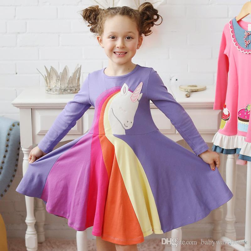 1-5Y Kids Toddler Rainbow Embroidery Cartoon Animal Dress Casual Baby Girls Long Sleeve Dress Stripe Print Princess Dresses Autumn Clothes
