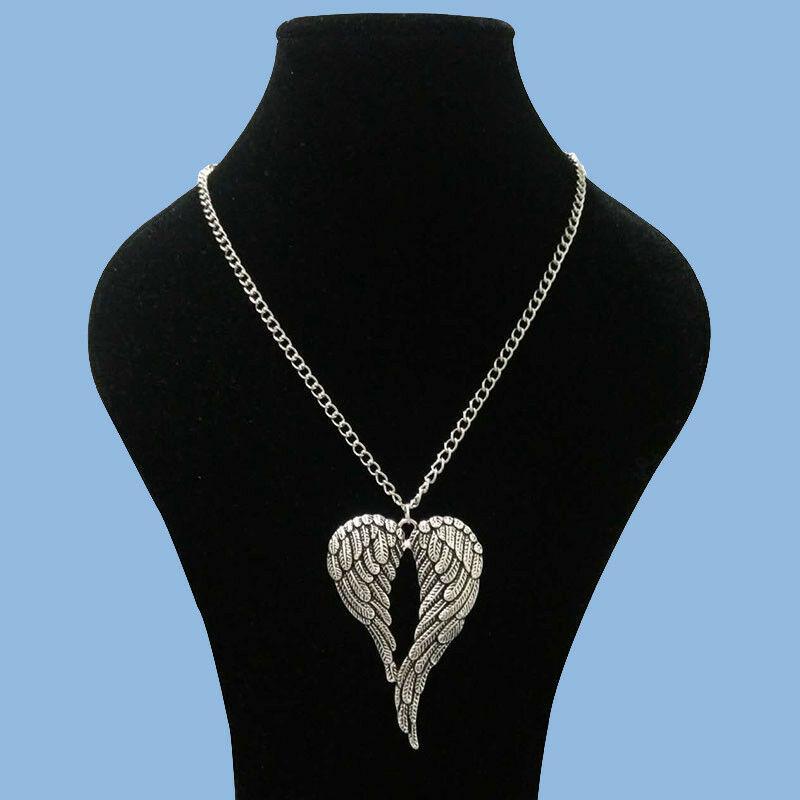 Büyük Guardian Angel Wings Kalp Kolye Takı Kolye Kolye Kadın Gümüş Gerdanlık Bildirimi Zincir Kolye Kolye Hediyeler 69 * 47mm