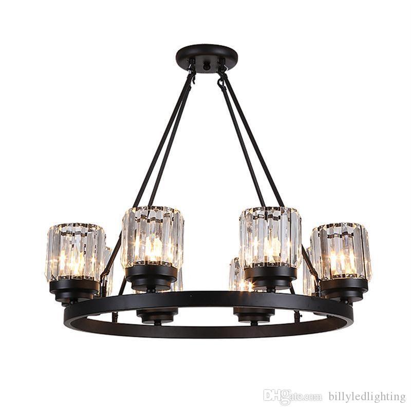 el arte de hierro negro americano lámpara LED de luz de la habitación creativa de la sala de café comedor luz de cristal LED