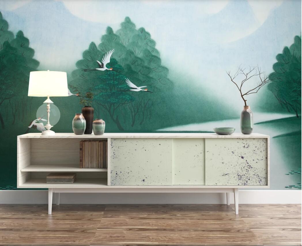 fondos de escritorios personalizados murales 3d reservado elegante paisaje y la pared de fondo pájaro tinta china de televisión de la pared de fondo la pared del arte fotos