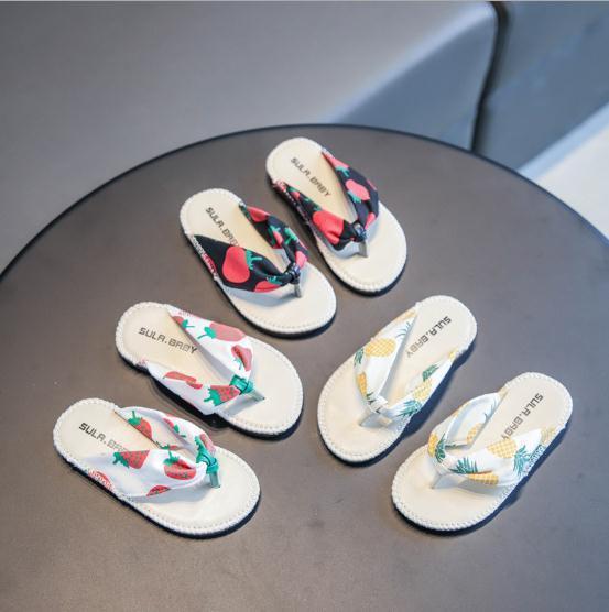 Vieeoease Girls Slipper Print Fruit Kids Shoes 2020 Summer Flip-flop Sandal Casual Slipper Girls Shoes CC-716
