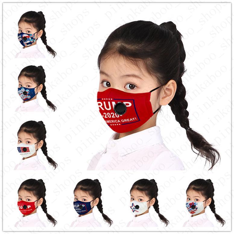Trump PM2.5 Amerika Çocuk Cep Yaz Maskeler satış D52809 ile nefes Vana erkek kız çocukları Yüz Maske ile Donald 2020 ABD Maskeler maks