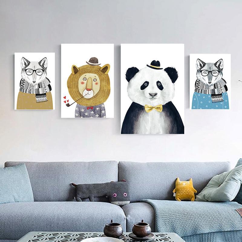 Elegante Poesia Nordic animal bonito Urso Panda A4 pintura da lona Impressão artística Poster Imagem Modern Home Decor criança Bedroom Decor