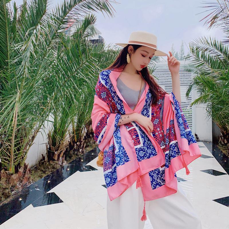 Wholesale low price large size cotton scarf shawl flower printed new style cotton scarf printed for women wholesale