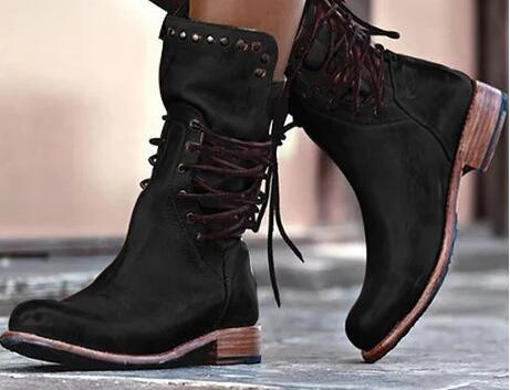 Großhandel 2019 Frauen Luxus Leder Stiefel Schnüren Mode Schuhe Niedrigen Ferse Verzierte Lederschuhe Western Stiefel Von Walonshoe, $56.29 Auf