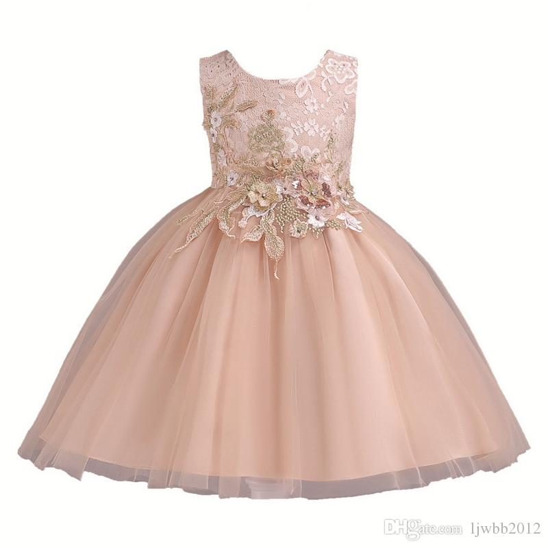 Girl Dresses Fiber Skirt With Emboridery Flower Lace Princess Dresses Formal Wedding Party And Ball Gown