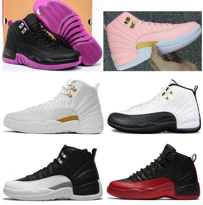 Yeni Kadın 12 12s GS Hiper Menekşe Taksi ovo Beyaz Gençlik Basketbol Ayakkabı Kızlar Nezle Oyun Playoff Sneakers ile Kutusu