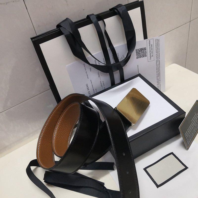 2020 حار جديد أسود الأزياء عالية الجودة حزام الذهب الرجال والنساء مشبك حزام + مربع حزام