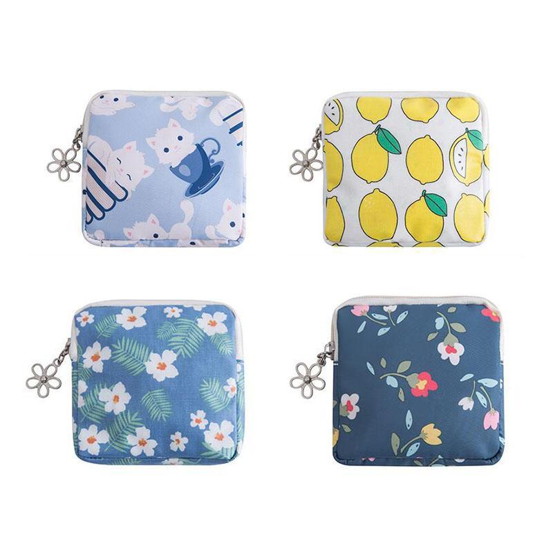 Moda Kadınlar Küçük Meyve Çiçek Kozmetik Çanta Mini Seyahat Yukarı Sıhhi Peçeteler Ruj Depolama Kılıfı Çanta Çanta Kılıf olun