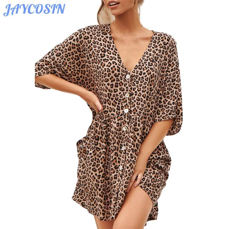 JAYCOSIN ropa de las mujeres del leopardo de impresión de manga corta de las muchachas del vestido de moda verano de Boho V-Cuello suelta más el mini vestido Vestido