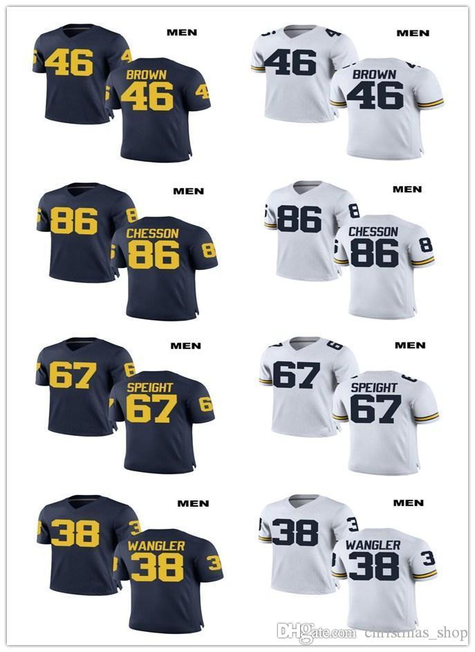 Customized Michigan Wolverines Jersey 46 Matt Brown 86 Ieu Chesson 67 Speight 38 Wangler College Football bianco personalizzato Navy Maglie
