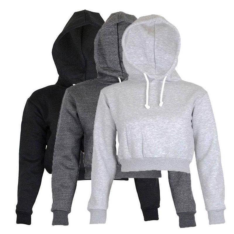 Completa Hoodie Coats Preto Outono Nova Breve roupa ocasional Mulheres Ladies Vestuário Tops Cortar Plain parte superior encapuçado