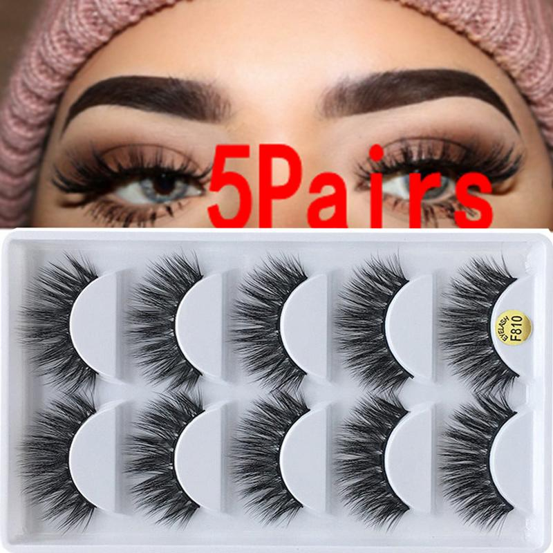 5 pairs of 3D mink hair false eyelashes thick long eyelashes small bunches of fluffy thick false eyelash