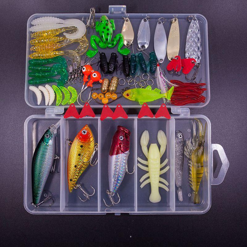 77Pcs Fishing Lures Kit Set For Bass,Trout,Salmon,Including Spoon Lures,Soft Plastic worms,CrankBait,Jigs,Top water Lures