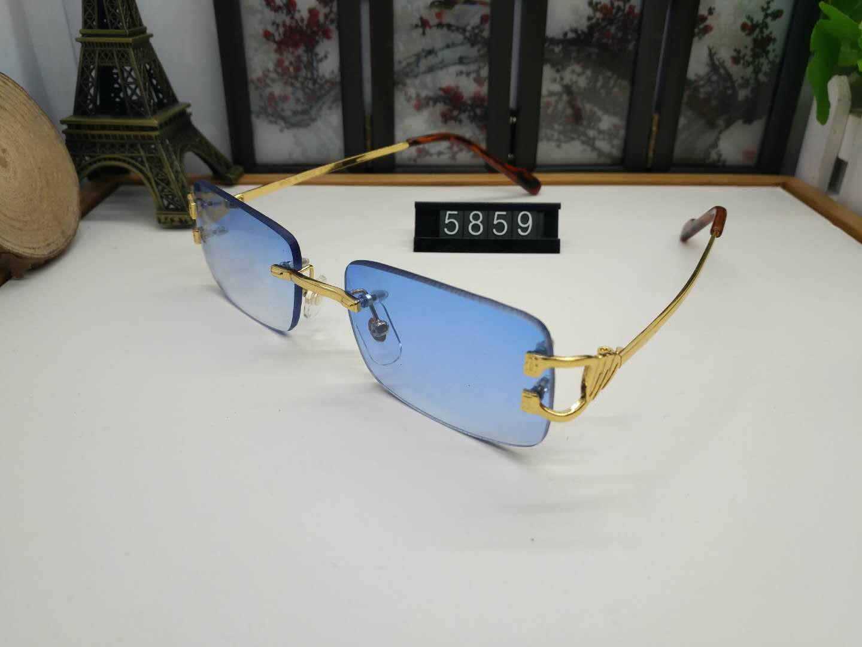 Lunettes de soleil extérieures sans monture polarisées pour hommes en métal doré marque designer mode lunettes de soleil lentille rouge noir bleu viennent avec la boîte