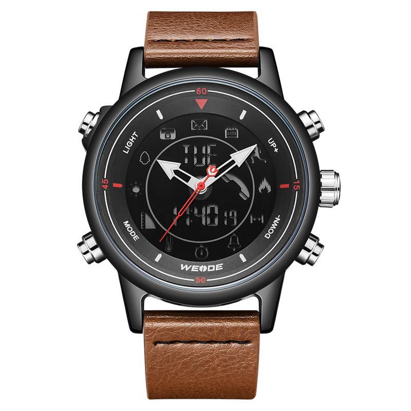 WEIDE Deri Kayış Dijital Bluetooth Smartwatch Saat 5ATM Su geçirmez Erkekler Kol İş Nedensel Alarmı Relogio Masculino