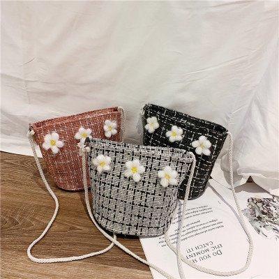 Модная клетчатая женская сумка из искусственной кожи с мягкой боковой сумкой на одно плечо Сломанный цветок Lady Fan Bucket Bag Европейский стиль леди сумки на ремне