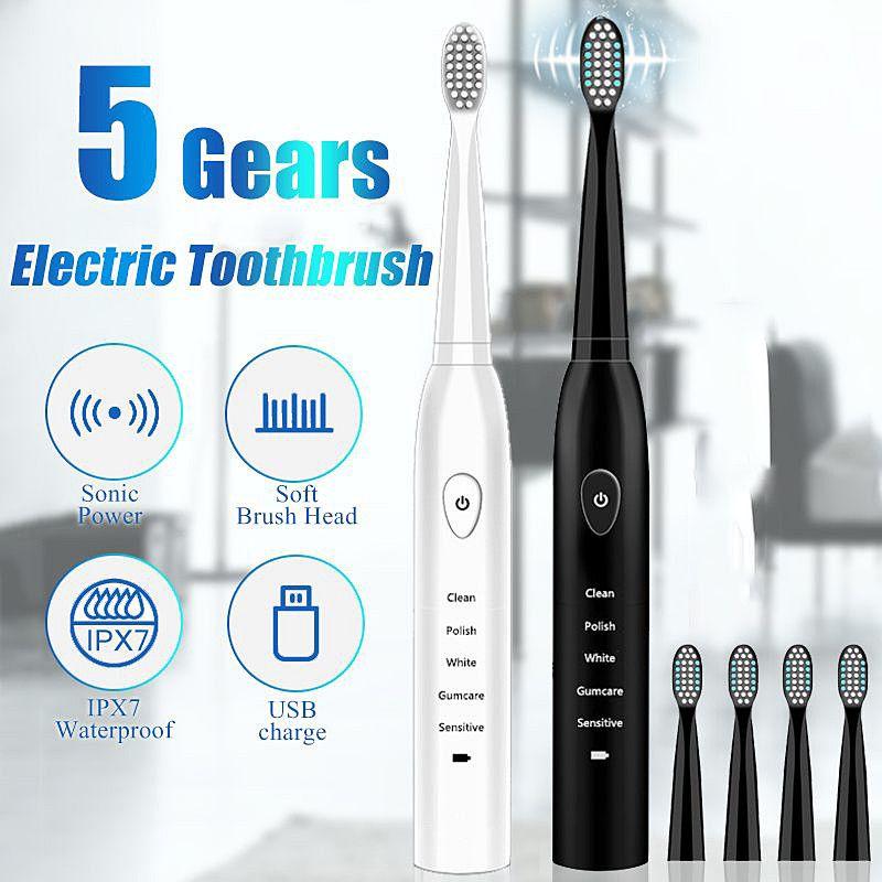41000time potenza sonora Spazzolino elettrico ricaricabile / min ultrasuoni lavabile elettronico sbiancamento dei denti impermeabili Brush regalo
