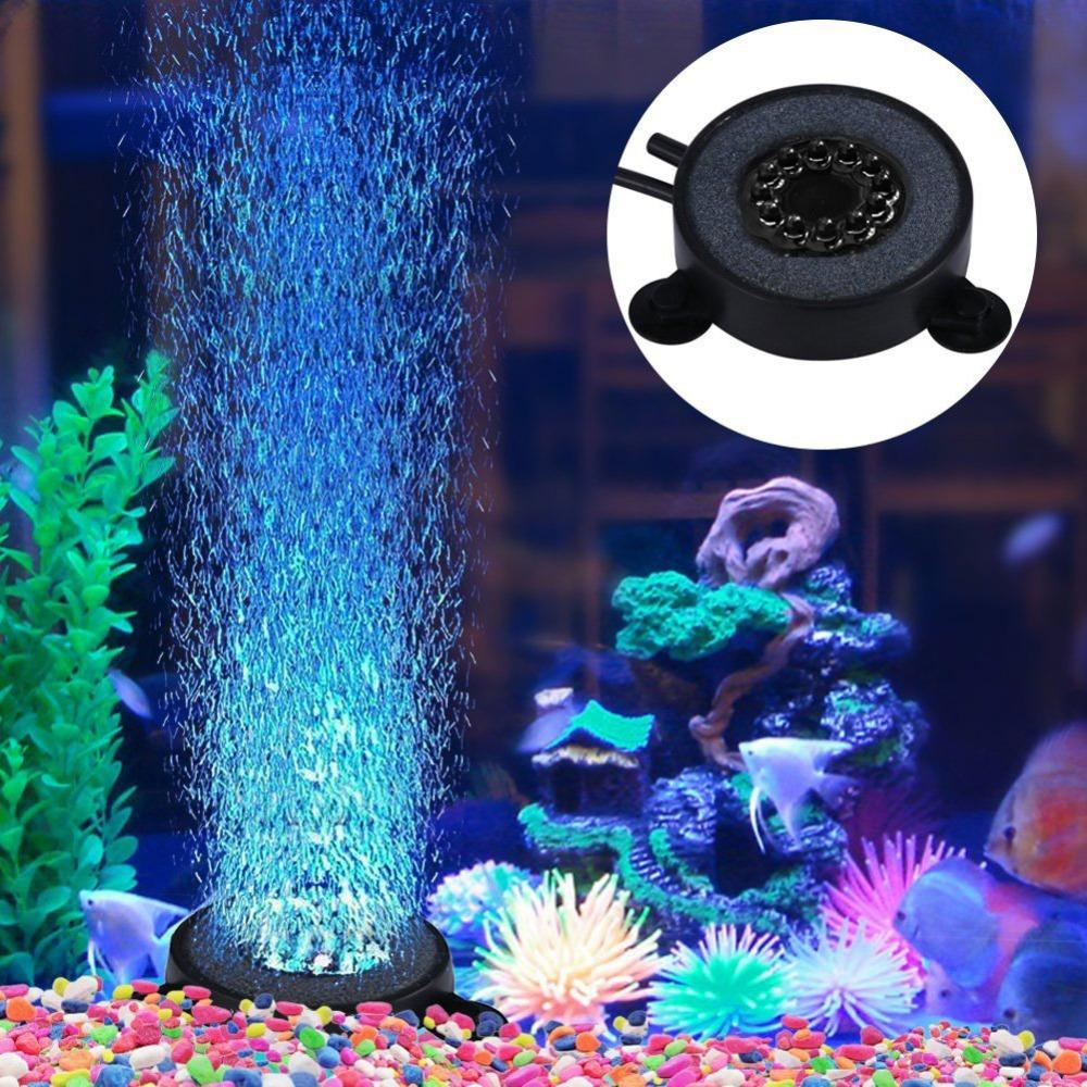 1Pc New Colorful Underwater Round Fish Tank Pool Lamp 12 LEDs Air Bubbles Aquarium Submersible LED Waterproof Light Swimming