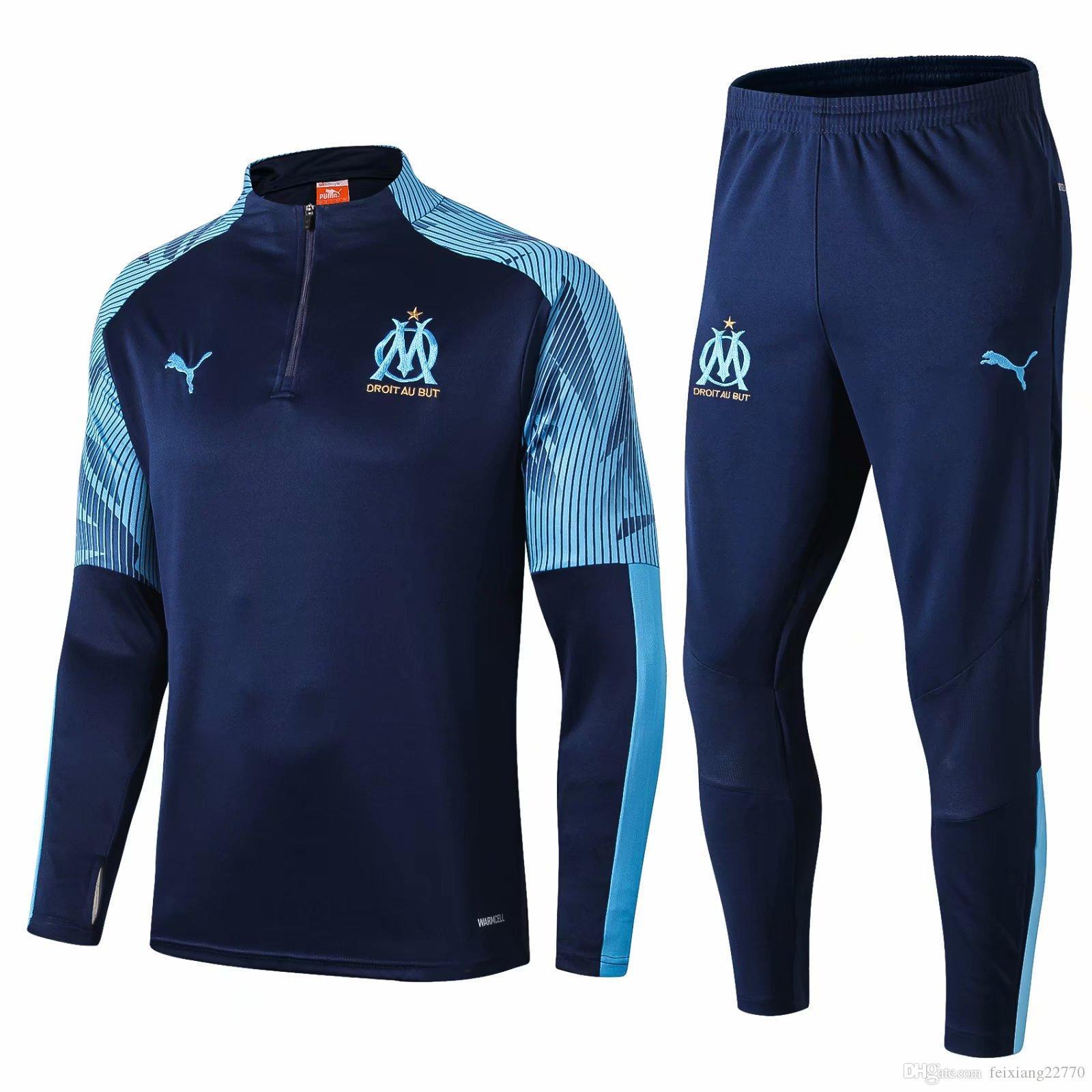 2019 2020 Olympique de Marseille Survêtement Veste à capuche Survetement 18 19 20 PAYET THAUVIN sweat à capuche OM Survêtement jogging veste de football