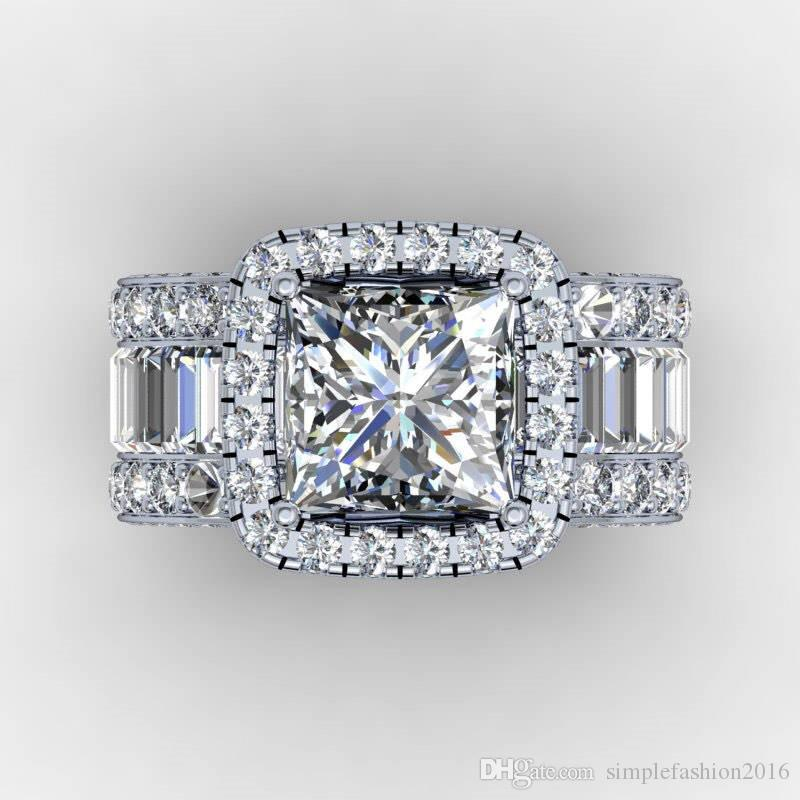 여성 남성 손가락 보석 선물 빈티지 연인 법원 링 3CT 다이아몬드 925 스털링 실버 약혼 결혼 반지 반지