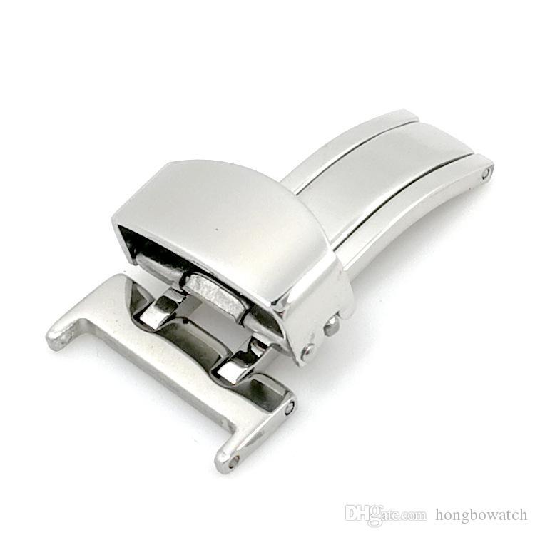 Acciaio inossidabile solido unico tiro farfalla fibbia in metallo fibbia pieghevole 14-22MM accessori di orologi