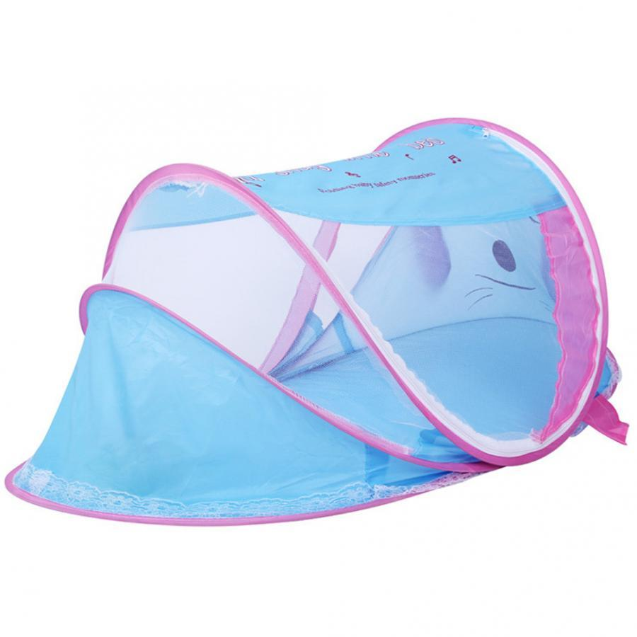 110x60x55cm Portable Foldable Newborn Mosquito Net Tent Baby Travel Sleep Tent with Music for Kids Infant Mosquitoes Netting
