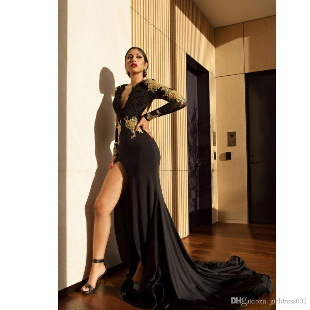 abendkleider 2019 gold embroidery black evening dress