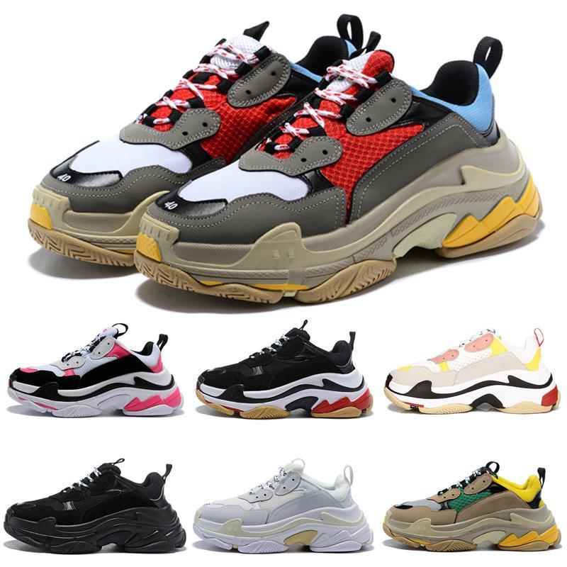 2020 Классические Тройной мужчины женщины роскошь дизайнер обуви платформы кроссовки черные разводятся белые красные золотые мужские случайные тренеры старинных Scarpe