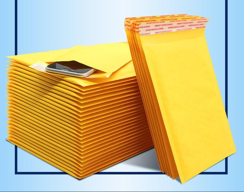 11 * 13 Kraft Kabarcık Posta Çanta Postacılar Nakliye Çanta Sarı Yastıklı Zarflar Su Geçirmez Poli Kabarcık Mailers Kendinden Mühür Posta Zarflar