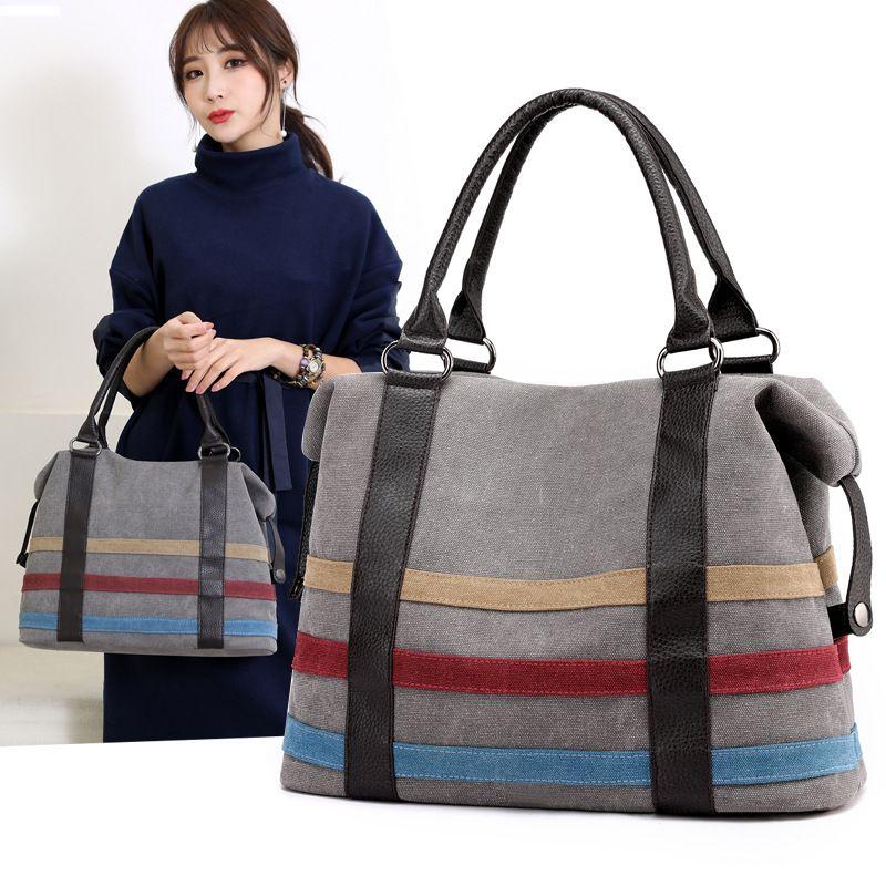 2019 nouveau sac de toile grand sac de toile capacité dames coutures art simples sacs crossbody pour les femmes
