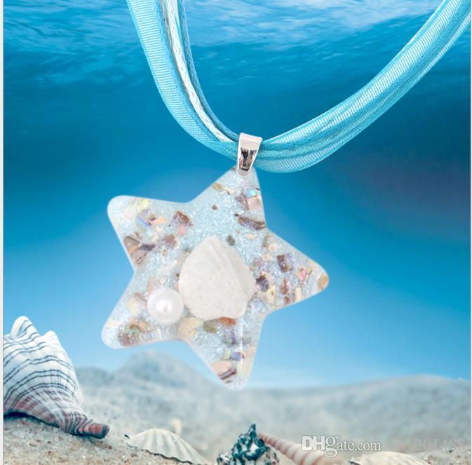 Colar de concha de moda europeia e americana longo elemento marinho pingente de tampa de vidro