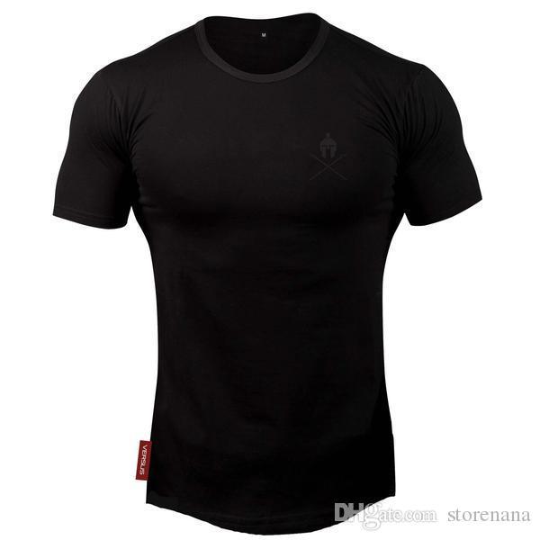 2019 NEW 핫 폭발성 티셔츠 체육관 운동 훈련 슬리브 티셔츠 남성 조깅 보디 빌딩 티셔츠 의류