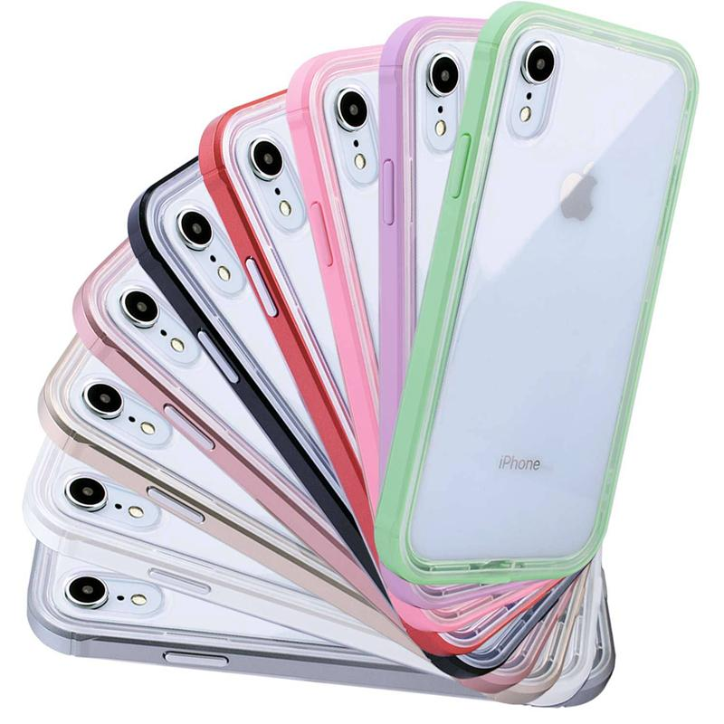 PC TPU dual layer cell phone protective case for Iphone 11 pro x xr xs max 8 7 6 plus silicone slim transparent colorful back cover