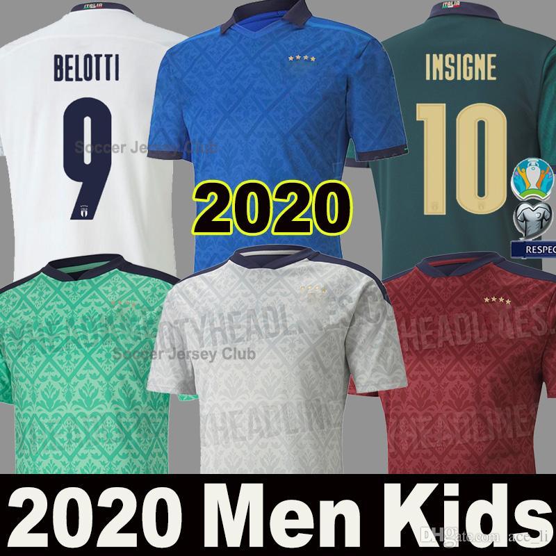 2020 2021 Itália Camisas de Futebol Italy INSIGNE IMMOBILE EURO 20 21 fãs e jogadores Versão Itália Mens uniforme Crianças BELOTTI TOTTI Camisa de futebol