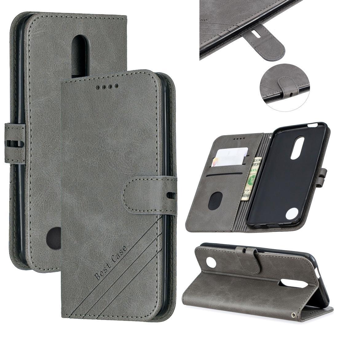 Para LG K10 2017 Estilo De Costura de 2 cores textura de vaca caixa Horizontal Flip PU Couro Com ranhura de cartão de suporte